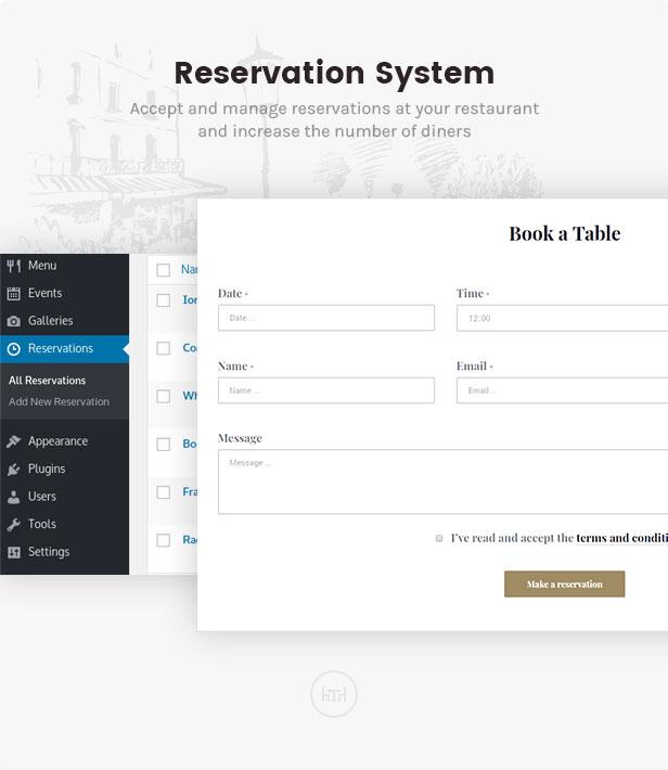 linguini restaurant theme reservation system - Linguini — Restaurant WordPress Theme