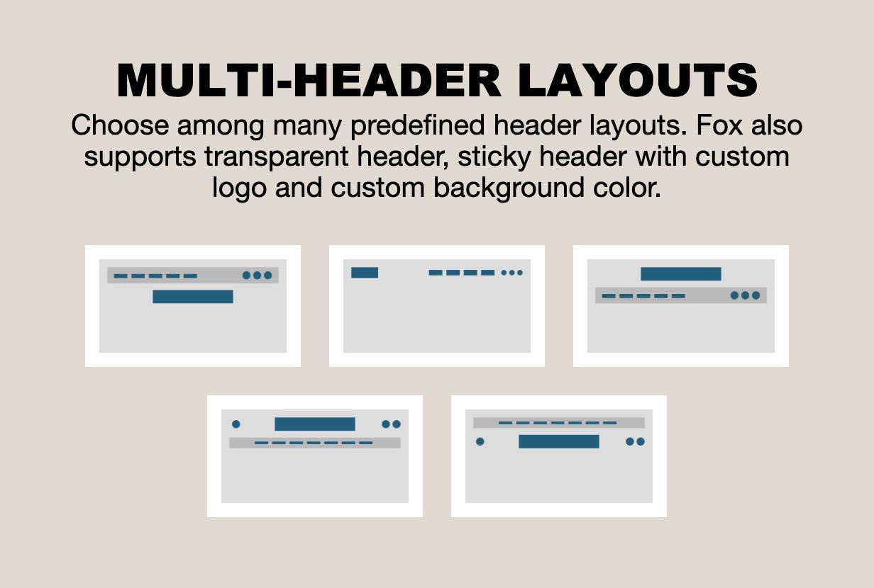 multiple header - The Fox - Minimal WordPress Blog Magazine Theme