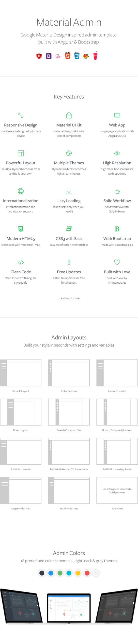 ngtemplates material preview - Material Design AngularJS Admin Web App with Bootstrap 4