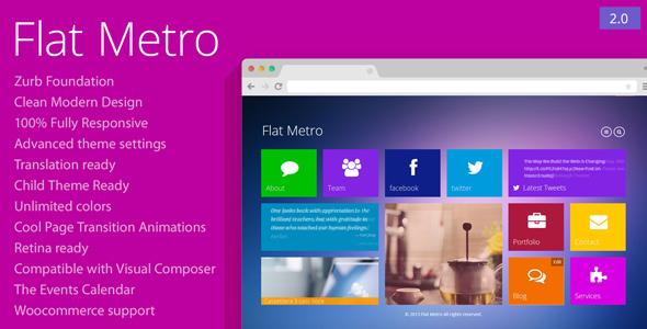 preview.  large preview - Flat Metro - Responsive WordPress Theme