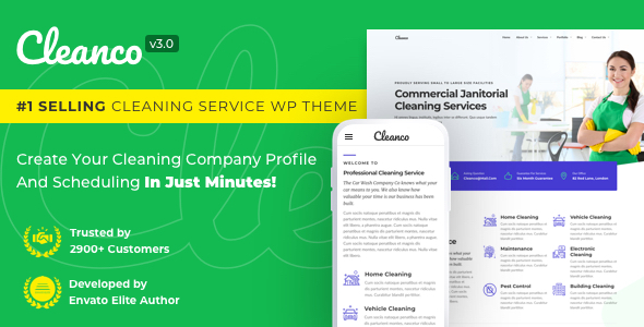 previews.  large preview - Cleanco 3.0 - Cleaning Service Company WordPress Theme
