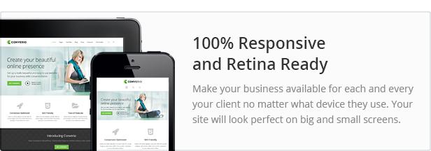 responsive and retina ready - Converio - Responsive Multi-Purpose WordPress Theme