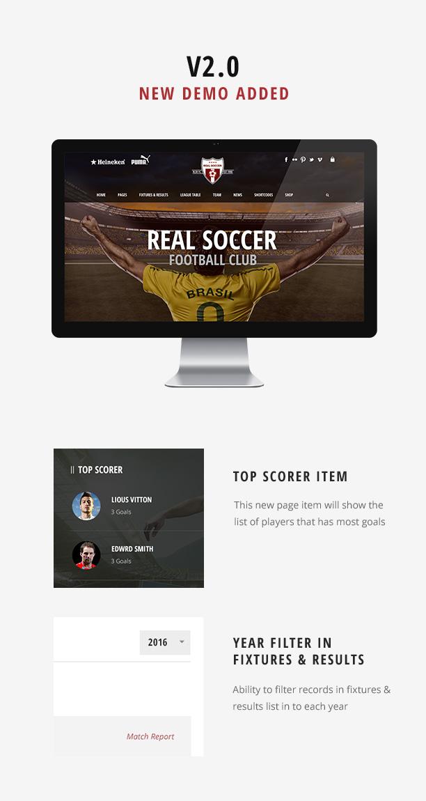 screen 2s - Real Soccer - Sport Clubs WordPress