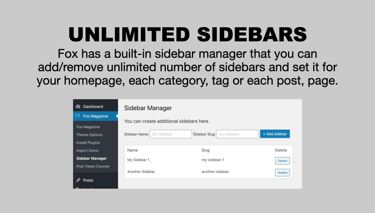 sidebar manager - The Fox - Minimal WordPress Blog Magazine Theme