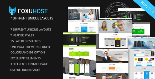 theme preview.  large preview - Foxuhost - Web Hosting, Responsive HTML5 Template