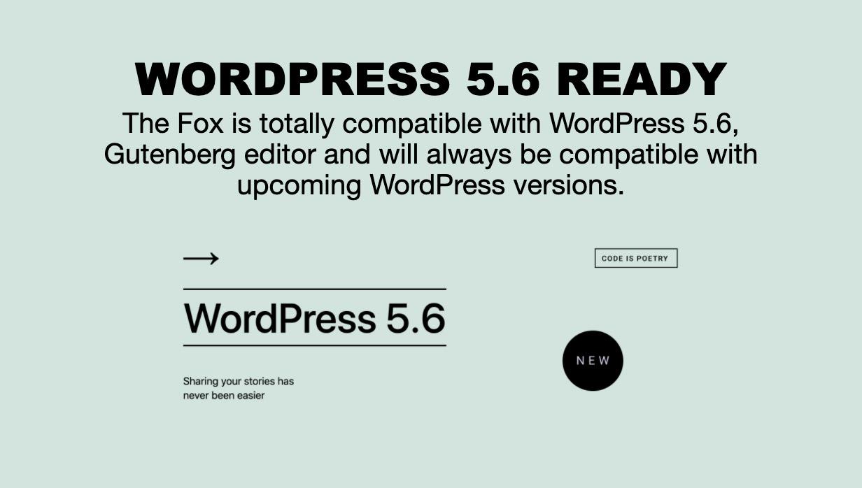 wp5.6 - The Fox - Minimal WordPress Blog Magazine Theme