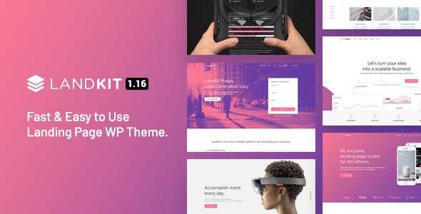 01 landkit preview.  large preview - Landkit - WordPress Landing Page Theme