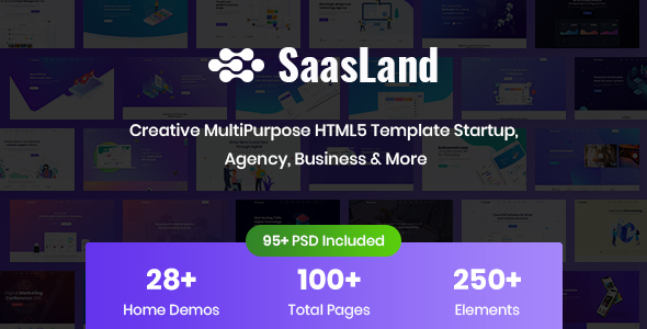 01 preview.  large preview - SaasLand - Creative HTML5 Template for Saas, Startup & Agency