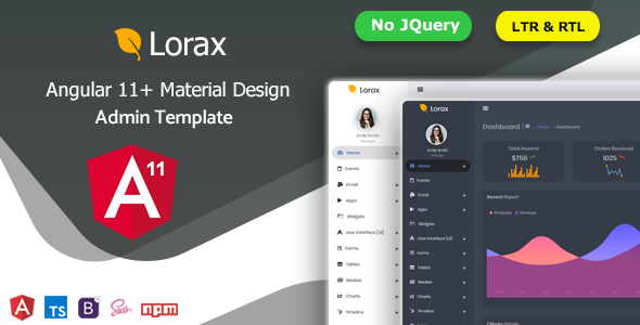 01 preview.  large preview - Lorax - Angular 11+ Material Design Admin Template