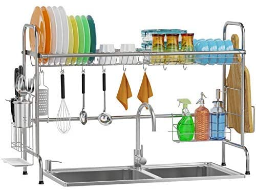 1617817020 410nFnXUUsL. AC  - Over Sink Dish Rack, GSlife Kitchen Over Sink Shelf Stainless Steel Over the Sink Drying Rack, Silver