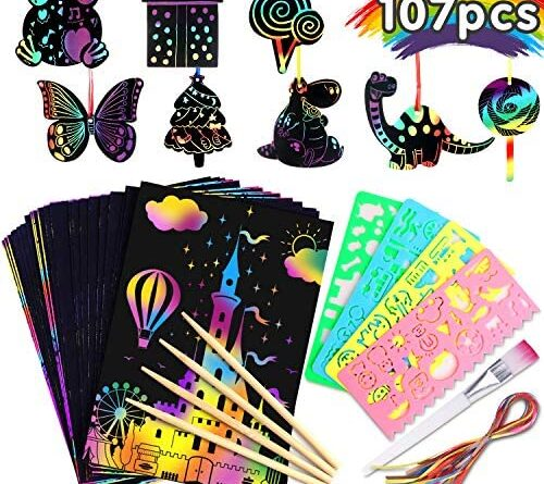 1618516370 61Jez5TVKrL. AC  500x445 - Riarmo Scratch Art Paper Set for Kids, 107 Pcs Rainbow Magic Scratch Off Paper Art Craft for Boys & Girls, Fun Imagination Trigger Game for Children's Summer Vacation, Birthday, and Party Gift