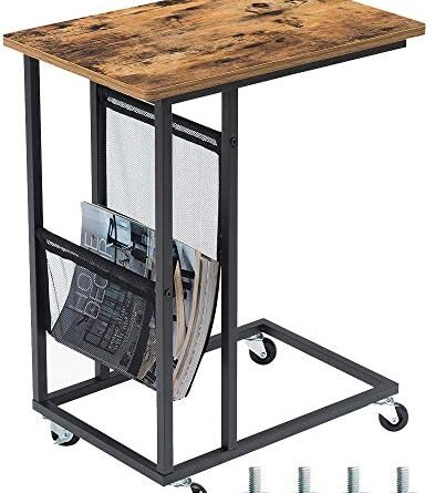 1618732715 51stJlRZorL. AC  393x445 - EKNITEY Sofa Side Table,Mobile C Shaped End Table Snack Table with Wheels and Side Pocket for Living Room,Laptop,Bedroom,Coffee,Couch and Small Spaces (Rustic Brown)