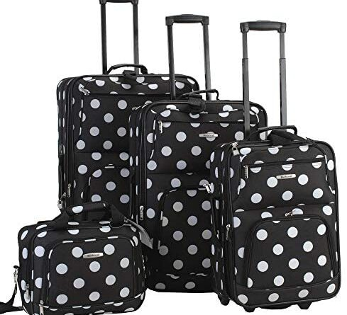 1619555170 51fk30G6PrL. AC  489x445 - Rockland Polka Softside Upright Luggage Set, Black Dot, 4-Piece (14/19/24/28)
