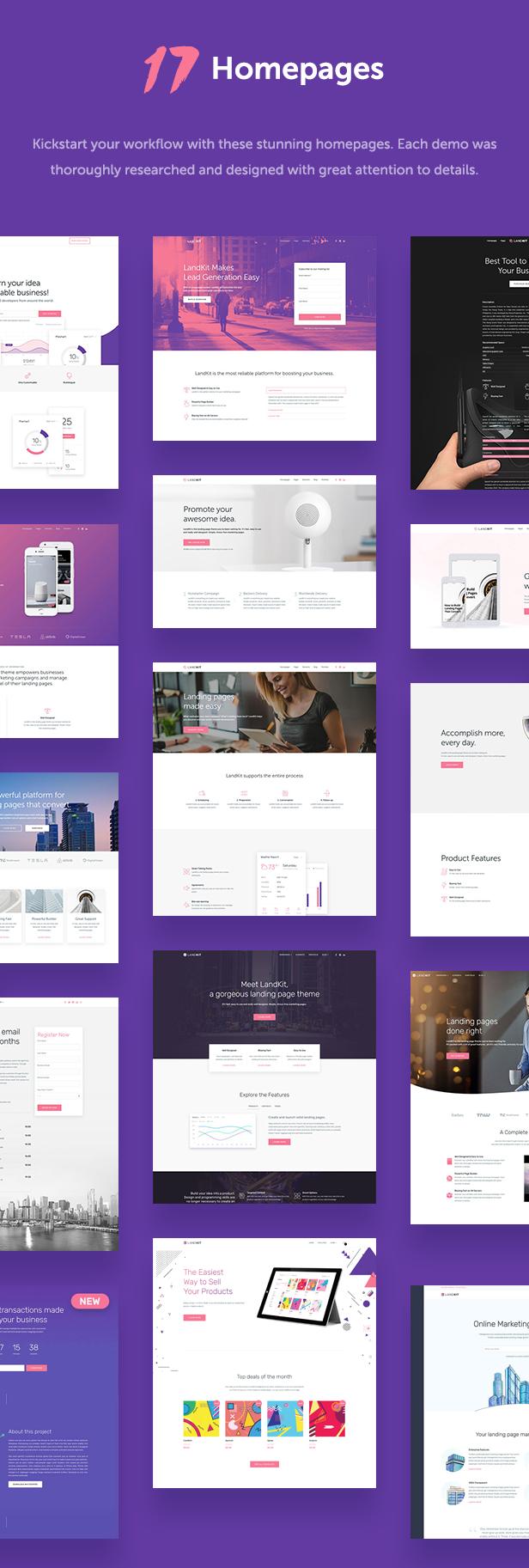 17 homepages - Landkit - WordPress Landing Page Theme