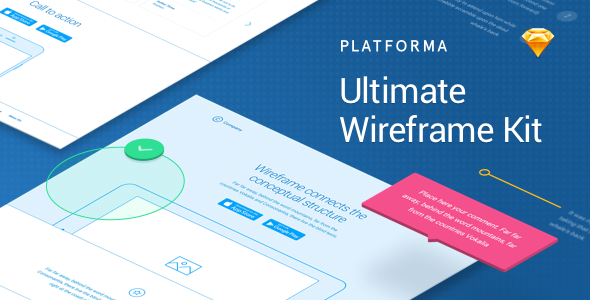 1 Promo 590 300.  large preview - Platforma: Ultimate Wireframe Kit of 200+ Layouts for Sketch