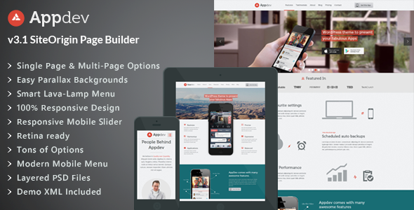 1 appdev screenshot.  large preview - Appdev - Mobile App Showcase WordPress Theme