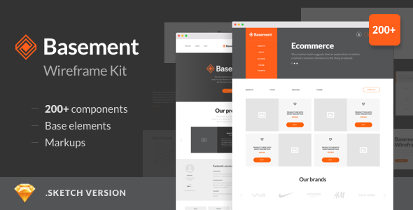 1 preview image 590x300.  large preview - Basement Wireframe Kit - 200+ Components for Sketch