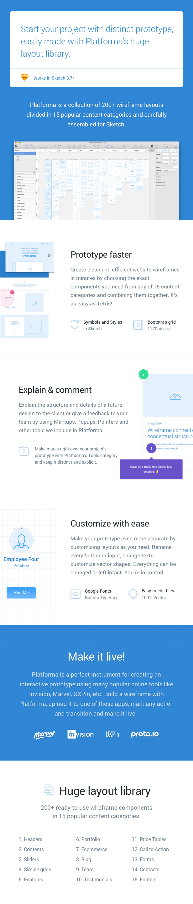 2 - Platforma: Ultimate Wireframe Kit of 200+ Layouts for Sketch