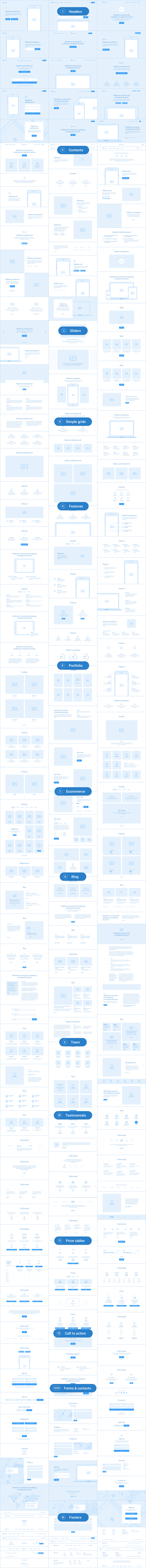 3 - Platforma: Ultimate Wireframe Kit of 200+ Layouts for Sketch