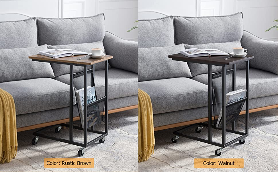 3050135f b6b0 4e19 a74d b8e671c30e18.  CR0,0,1940,1200 PT0 SX970 V1    - EKNITEY Sofa Side Table,Mobile C Shaped End Table Snack Table with Wheels and Side Pocket for Living Room,Laptop,Bedroom,Coffee,Couch and Small Spaces (Rustic Brown)