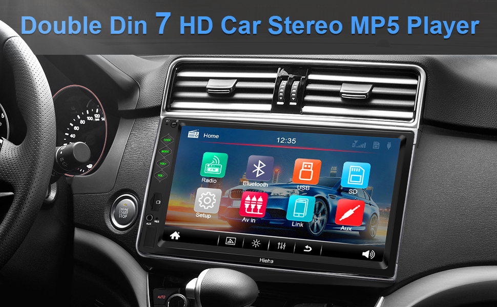 """30e07a3a 9298 4995 be75 67febabb0c0c.  CR0,0,970,600 PT0 SX970 V1    - Hieha Double Din Car Stereo with Bluetooth, 7"""" HD Touch Screen Car Radio with Backup Camera, USB-to iOS Android Phone Mirror Link Supports GPS, Call Answering, FM, Music, Video Upgrade"""