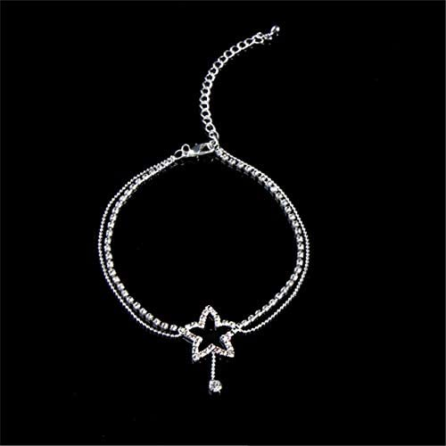 31buxR0NOuL. AC  - Sperrins Heart Pattern Crystal Anklet Women Simple Rhinestone Anklet Foot Accessories (Color 1)