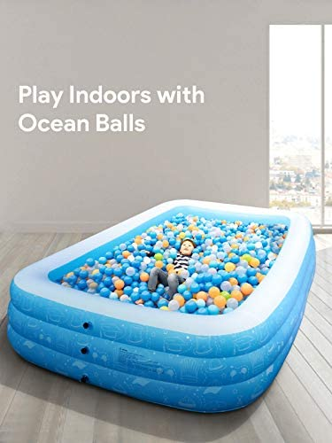 """417aFUPcKHL. AC  - Large Inflatable Pool, Inflatable Swimming Pools 118"""" x 73"""" x 20"""" Kiddie Pool Blow Up Pool Family Swimming Pool for Kids, Adults, Babies, Toddlers, Outdoor, Garden, Backyard"""