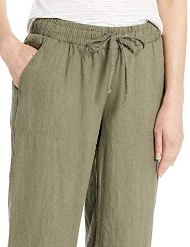 4197bkaId3L. AC  - Amazon Essentials Women's Drawstring Linen Wide Leg Pant