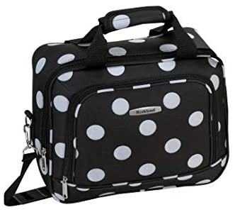41FX+EOrAUL. AC  - Rockland Polka Softside Upright Luggage Set, Black Dot, 4-Piece (14/19/24/28)