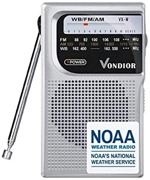 41JXRgEIR3L. AC  - NOAA Weather Radio - Emergency NOAA/AM/FM Battery Operated Portable Radio with Best Reception and Longest Lasting Transistor. Powered by 2 AA Battery with Mono Headphone Socket, by Vondior (Silver)