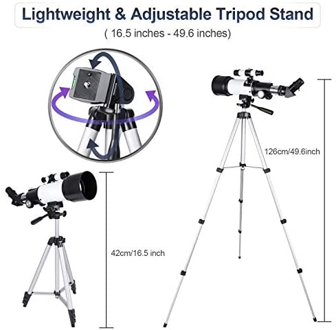 41L8qcg5FaL. AC  - Deesoo Telescopes for Adults Kids - Portable Telescope FMC Lens with Adjustable Tripod Backpack Phone Holder for Moon Viewing - 70mm Aperture 400mm Refractor Telescope for Beginners