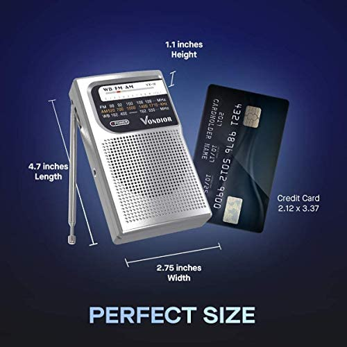 41gPZw3TAYL. AC  - NOAA Weather Radio - Emergency NOAA/AM/FM Battery Operated Portable Radio with Best Reception and Longest Lasting Transistor. Powered by 2 AA Battery with Mono Headphone Socket, by Vondior (Silver)