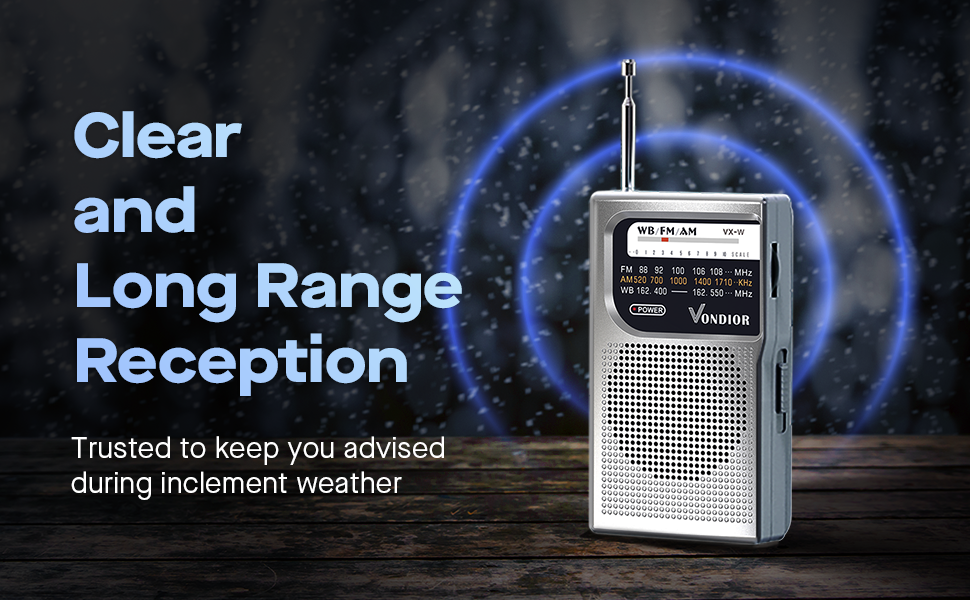 4a998f97 e591 4b3b bdd3 11d2d16fed14.  CR0,0,970,600 PT0 SX970 V1    - NOAA Weather Radio - Emergency NOAA/AM/FM Battery Operated Portable Radio with Best Reception and Longest Lasting Transistor. Powered by 2 AA Battery with Mono Headphone Socket, by Vondior (Silver)