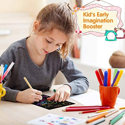 51 RKJwRsML. AC  - Riarmo Scratch Art Paper Set for Kids, 107 Pcs Rainbow Magic Scratch Off Paper Art Craft for Boys & Girls, Fun Imagination Trigger Game for Children's Summer Vacation, Birthday, and Party Gift