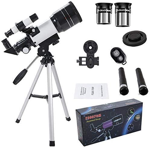 510Gv3sNOKL. AC  - Telescope for Kids &Adults &Beginners,70mm Aperture 300mm AZ Mount, Fully Multi-Coated Optics, Portable Astronomy Refractor Telescope with an Adjustable Tripod, A Phone Adapter