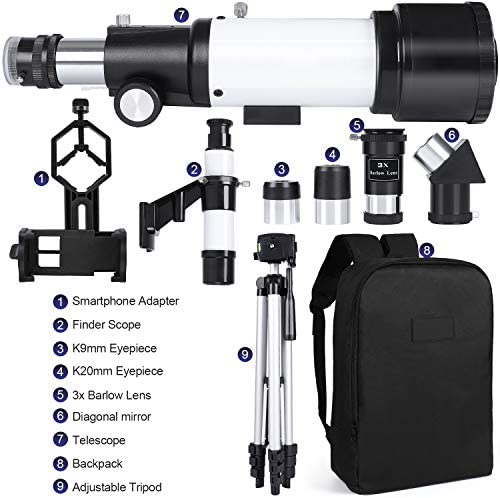 5119gtFqmIL. AC  - Deesoo Telescopes for Adults Kids - Portable Telescope FMC Lens with Adjustable Tripod Backpack Phone Holder for Moon Viewing - 70mm Aperture 400mm Refractor Telescope for Beginners