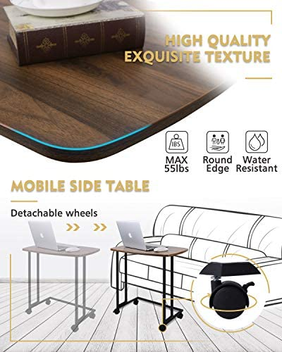 512OMXHwtSL. AC  - Modern Side Table, Moncot Mobile C Shaped End Table with Detachable Casters, Wood Top Walnut Rectangle TV Trays, Couch Table for Living Room, Bed Room and Home Office, ET220B-WN