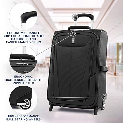 513L5qE 7LL. AC  - Travelpro Maxlite 5-Softside Lightweight Expandable Upright Luggage, Black, Carry-On 22-Inch