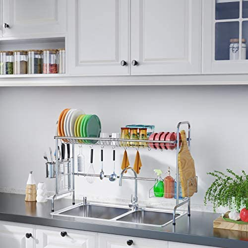514OsQSsv5L. AC  - Over Sink Dish Rack, GSlife Kitchen Over Sink Shelf Stainless Steel Over the Sink Drying Rack, Silver