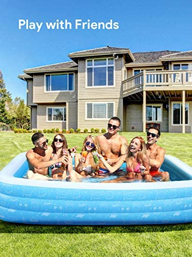 """514neGjOJJL. AC  - Large Inflatable Pool, Inflatable Swimming Pools 118"""" x 73"""" x 20"""" Kiddie Pool Blow Up Pool Family Swimming Pool for Kids, Adults, Babies, Toddlers, Outdoor, Garden, Backyard"""