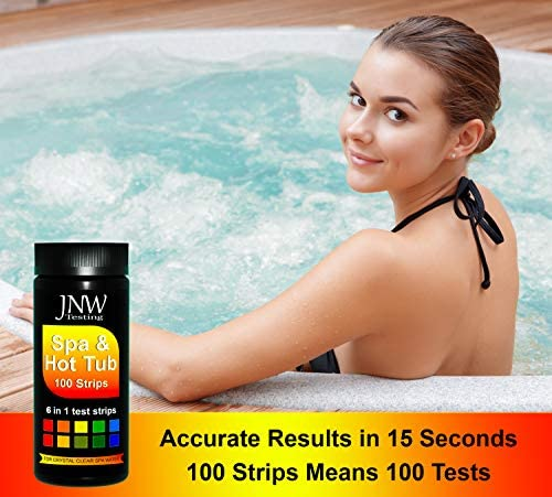 5158t2f8efL. AC  - JNW Direct Spa Test Strips for Hot Tubs - 100 Count, Best Kit for Accurate Water Quality Testing at Home, 6 in 1 Hot Tub Testing Strips