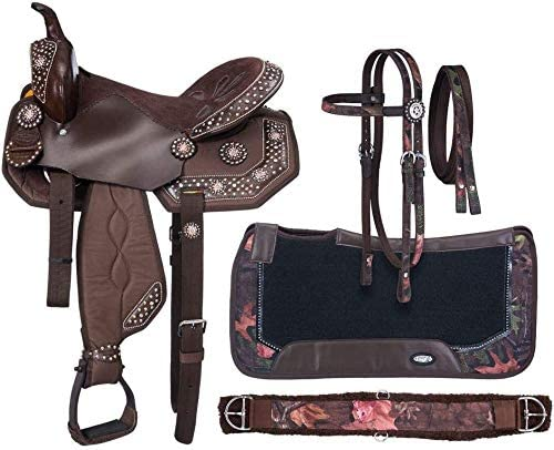 515cNCQn0nL. AC  - Hidayat International Youth Child Synthetic Western Pony Miniature Horse Saddle Tack Barrel Racing Size 10 to 13 Inches Seat Including Headstall, Breast Collar, Reins & Saddle Pad