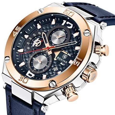 515pxqMImQL. AC  - BENYAR Men Watch Quartz Chronograph Date 3ATM Waterproof Watches Business Sport Design Leather Strap Wrist Watch for Men Father