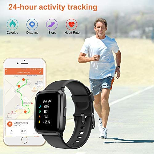 51AWemcZHIL. AC  - YAMAY Smart Watch, Watches for Men Women Fitness Tracker Blood Pressure Monitor Blood Oxygen Meter Heart Rate Monitor IP68 Waterproof, Smartwatch Compatible with iPhone Samsung Android Phones (Black)