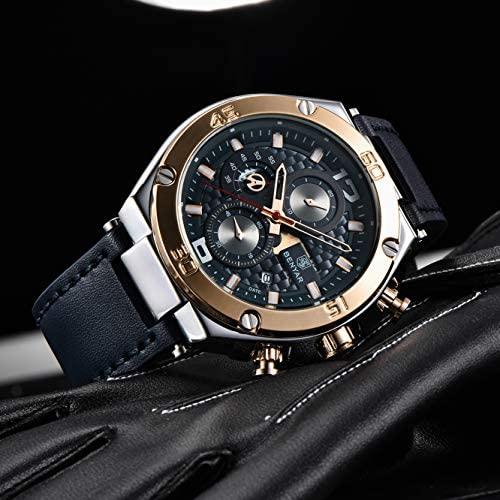 51AkucqkiBL. AC  - BENYAR Men Watch Quartz Chronograph Date 3ATM Waterproof Watches Business Sport Design Leather Strap Wrist Watch for Men Father