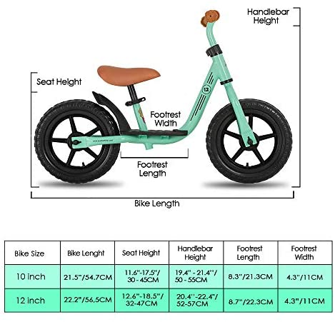 "51AvSyB29qL. AC  - JOYSTAR 10""/12"" Kids Balance Bike with Footrest for Girls & Boys, Ages 18 Months to 5 Years, Toddler Push Bike with Airless Tire and Adjustable Seat Height (Black Blue Green Pink)"