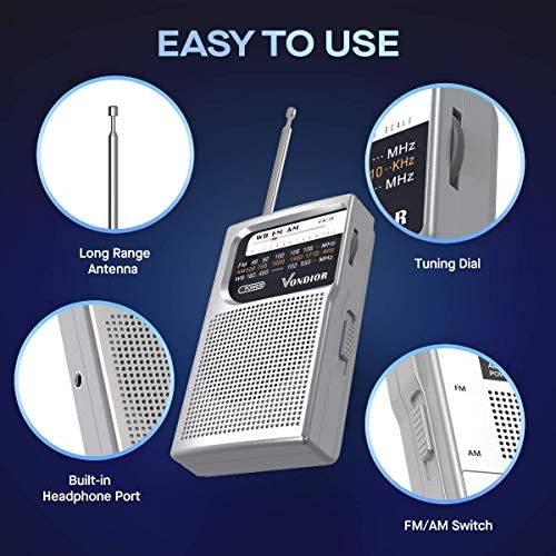 51Bi+XMy3DL. AC  - NOAA Weather Radio - Emergency NOAA/AM/FM Battery Operated Portable Radio with Best Reception and Longest Lasting Transistor. Powered by 2 AA Battery with Mono Headphone Socket, by Vondior (Silver)