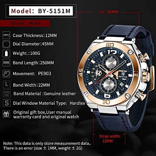 51CG8Qe vKL. AC  - BENYAR Men Watch Quartz Chronograph Date 3ATM Waterproof Watches Business Sport Design Leather Strap Wrist Watch for Men Father