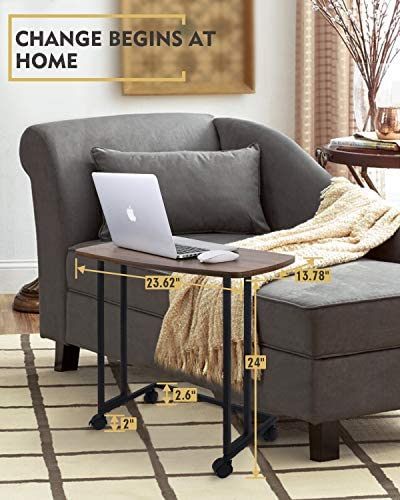 51GmtZmsNgL. AC  - Modern Side Table, Moncot Mobile C Shaped End Table with Detachable Casters, Wood Top Walnut Rectangle TV Trays, Couch Table for Living Room, Bed Room and Home Office, ET220B-WN