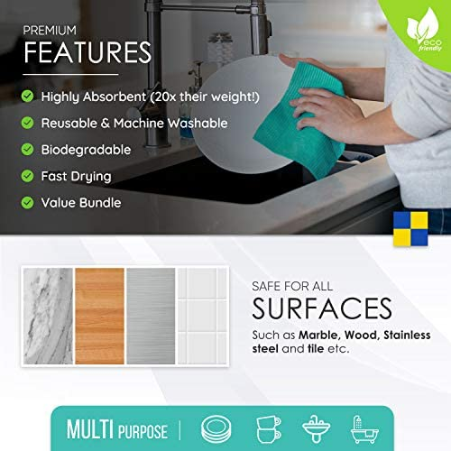 51H+qT5wMaL. AC  - Swedish Dishcloth Cellulose Sponge Cloths - Bulk 10 Pack of Eco-Friendly No Odor Reusable Cleaning Cloths for Kitchen - Absorbent Dish Cloth Hand Towel (10 Dishcloths - Assorted)